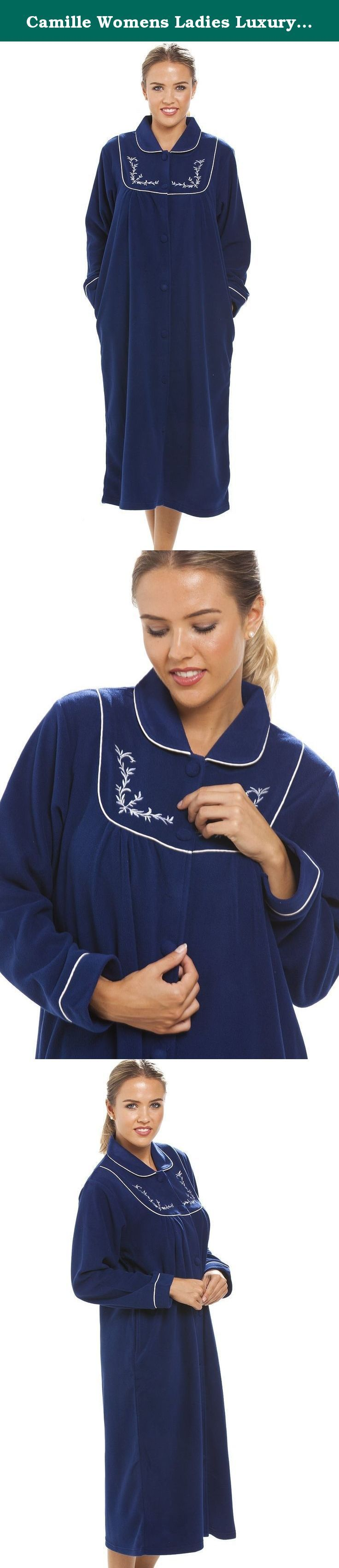 Camille Womens Ladies Luxury Blue Zip Up Housecoat Bath Robe 10/12 BLUE. Luxury Blue Zip Up Housecoat Is Part Of Our New Nightwear Range At Camille. The Housecoat Features A Beautiful Floral Design On The Collar And Pockets, The Housecoat Is 100% Polyester And Is Full Length To Keep You Warm On Cold Winter Nights.