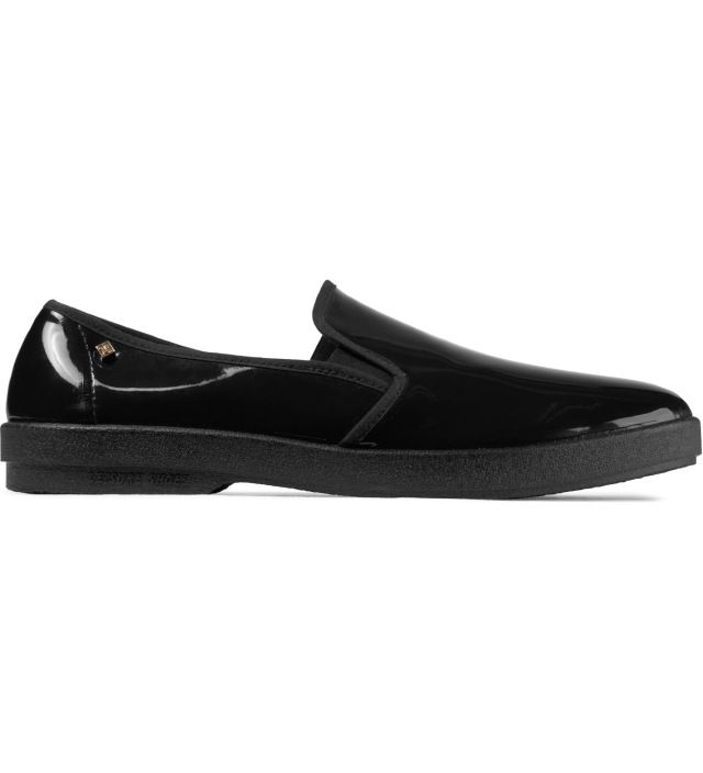 Black Vinyl Slip-on Shoes RIVIERAS
