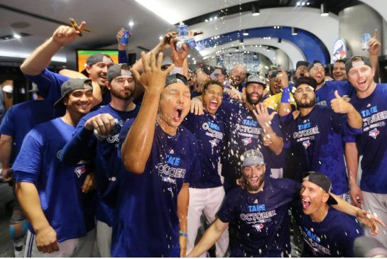 """The Toronto Blue Jays have made the post season, ending a 22-year drought. """"This is the before-party,"""" pitcher R.A. Dickey said. """"So imagine what the after-party will be like."""""""