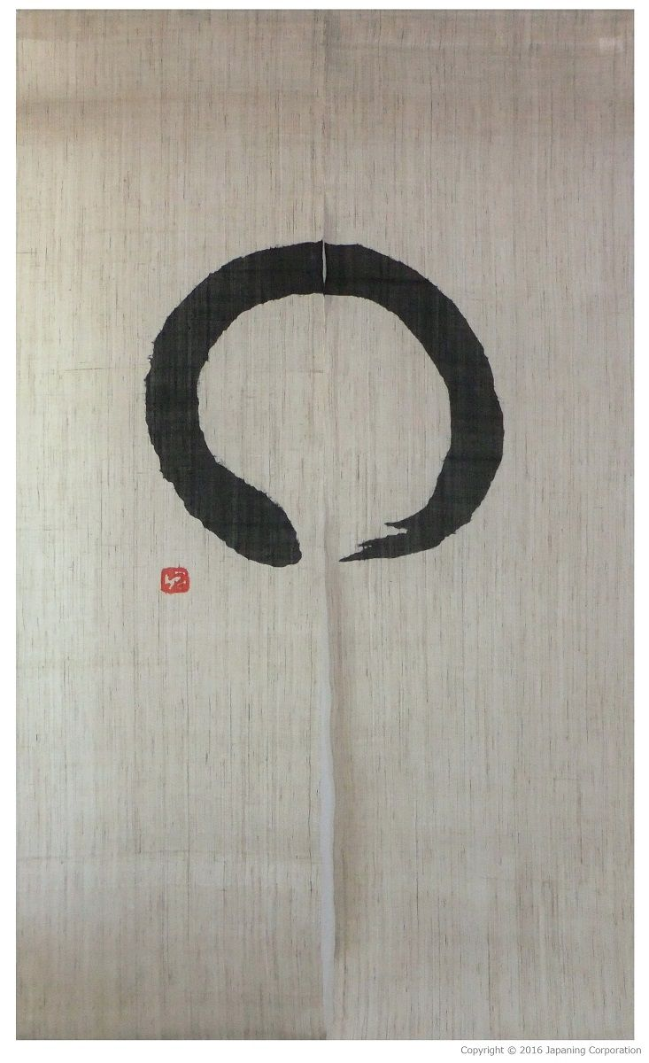 Noren curtain with enso design, handmade by the Kanbayashi family noren workshop in Kyoto.