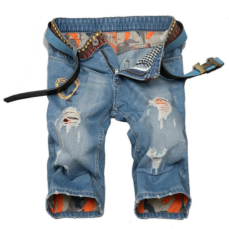 2017 New Short Jeans Homme Summer Tide Men Shorts Hole Flanging Man Straight Trousers European And American Ripped Denim Shorts