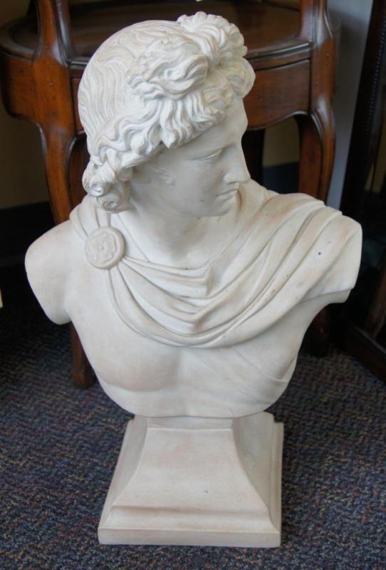 Sculpture: ($48.99) Ceramic Bust Of Apollo - Great Design Piece!- Austin Sculpture Local Pickup Only