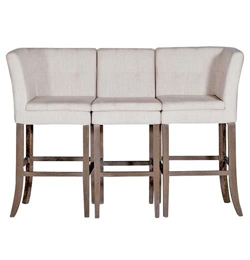 Cooper Conrad Tufted Linen Square Linen 3 Seat Bench Bar