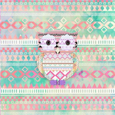 Hoot! Whimsical Tribal Owl Pastel Girly Tie Dye Aztec Art Print by Girly Trend | Society6