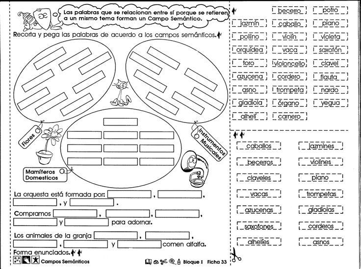 Ficha imprimible, de ampliación y refuerzo sobre los campos semánticos. Campos semánticos 6to grado.