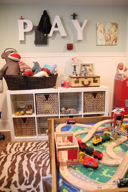 We have a similar existing shelf, as well as chair rail. This could be OUR playroom already. Like the letters above the shelves. But, will brain-storm ideas for wording more appropriate for 6+ year old.