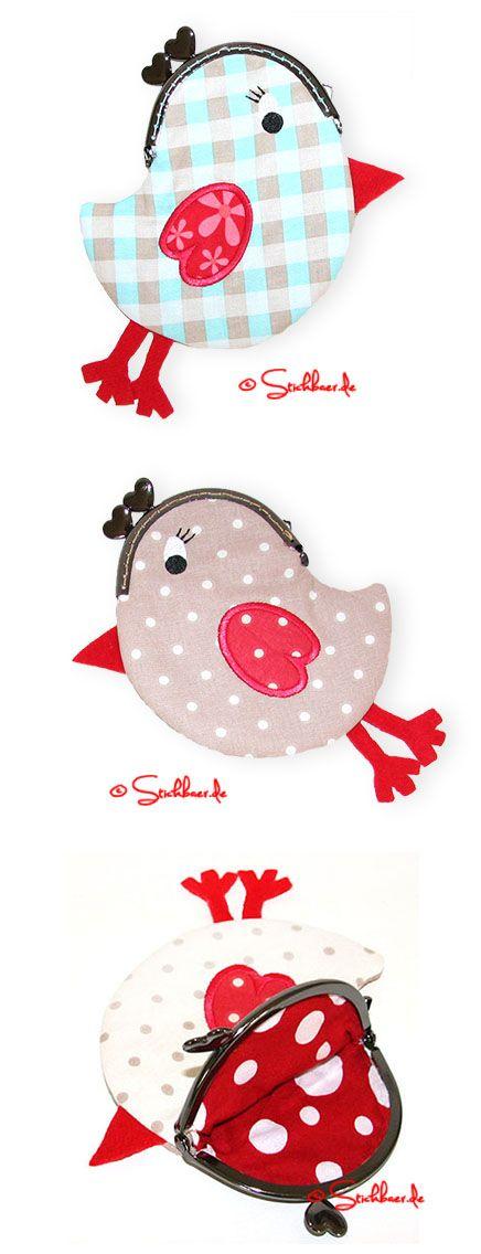 Der Stickbär | Designbeispiel: Birdiebag Stickdatei für eine zuckersüße Bügeltasche ITH