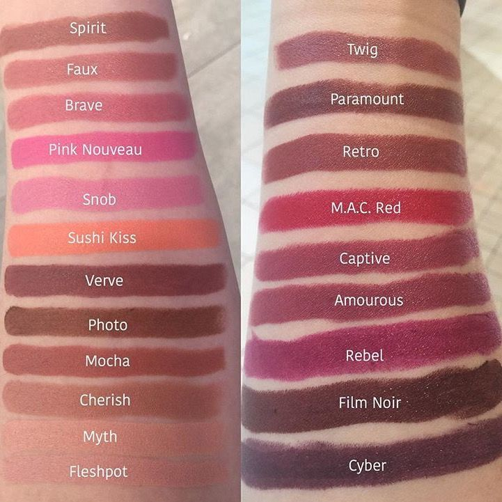 MAC Satin Lipstick Swatches
