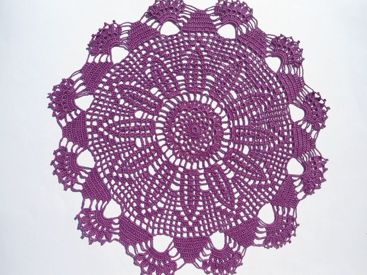 """Crochet doily, purple crochet doilies, violet lace doily, crochet centerpiece, large doily, 15"""" by kroshetmania on Etsy"""