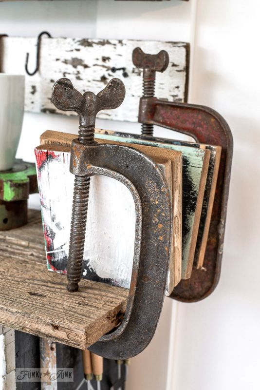 Clamp bookends / Organize your hobby with an antique tool work station! Finally, a reason to get those tools back to work! By Funky Junk Interiors for Ebay