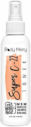 Super C-22 Toner- Best Botanical Oils to Calm Acne, Minimize Pores & Remove Oil & Dirt for Clean and Clear Skin with the Power of 22% Vitamin C Serum + Natural Organic Aloe + Witch Hazel… Body Merry