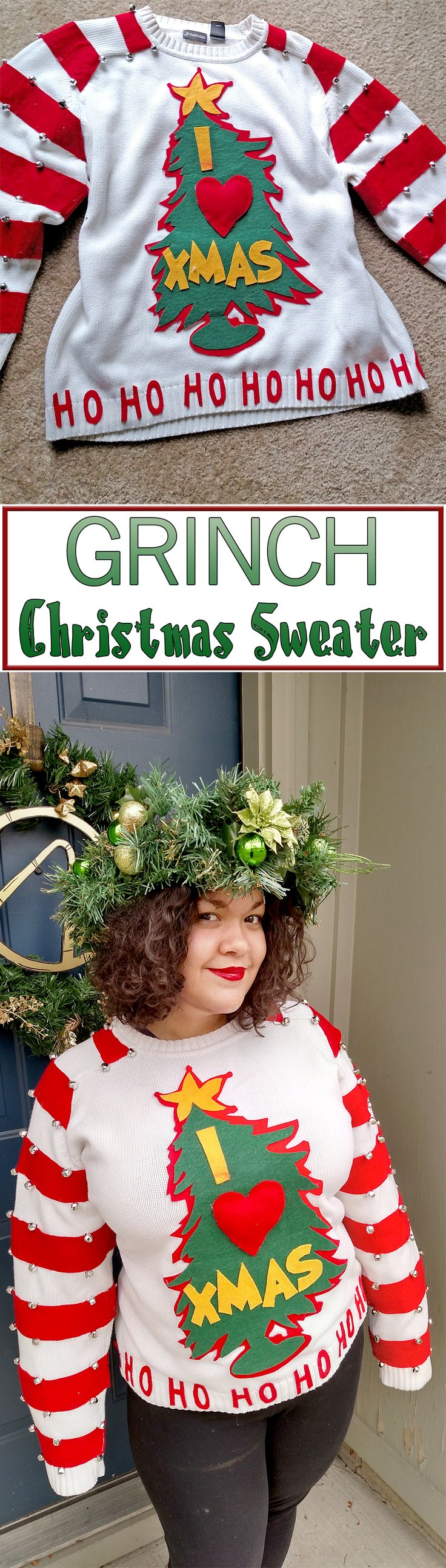 Celebrate Christmas Grinch-style with this fun sweater!