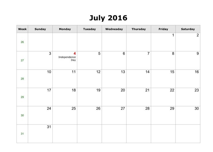 July 2016 Calendar with Word format #WordCalendar #CalendarTemplates #July2016Calendar – Download calendar with American holidays free. Blank monthly calendar for the month July in year 2016 quick and easy print online. Download july 2016 calendar templates as MS Word (editable,...Read more http://calendarholidays.xyz/national/calendar/july-2016-calendar/
