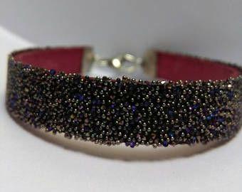 Bracciale in cuoio con Crystal Fabric Swarovski colore Crystal Heliotrope.