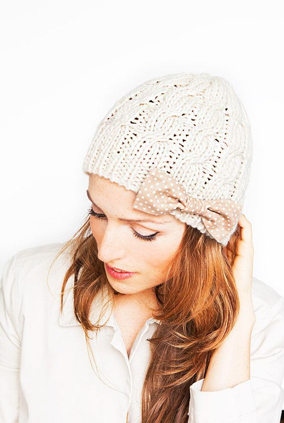 Ivory Knit Hat with Cute Polka Dot Bow  Offwhite by MinitaStudio, $16.50