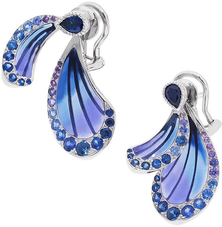 Lalique Dragonfly Earrings with Sapphire & Amethyst