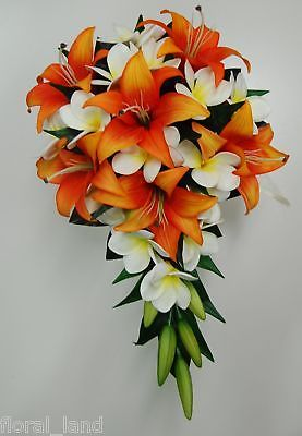 Latex white yellow frangipani orange tiger lily wedding bouquet teardrop flower