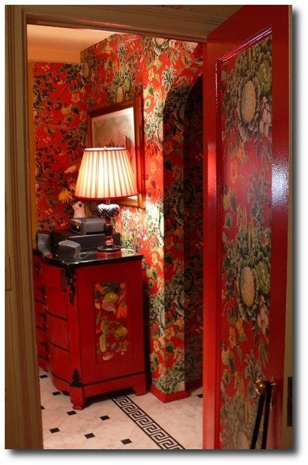 Red Floral Painted Room, Keywords: Primitive Decorating, Primitive Furniture  Ideas, Early American