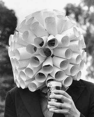 Peter Schauble of Parkville with a hat made out of computer tickets at the Melbourne Cup, 1979.