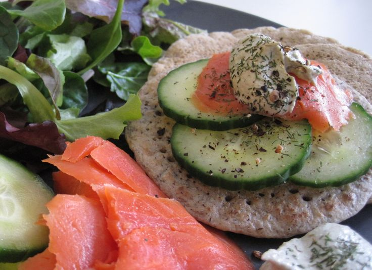 sprouted buckwheat gluten free blini with smoked salmon, cucumber and pumpkin seed cream