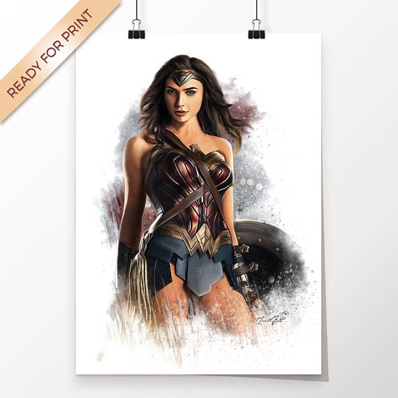 Wonder Woman Gal Gadot Kunstwerk handgemacht druckbare
