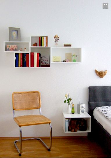 Exactly what I wanna do: painted boxes on the wall as storage and organisation <3