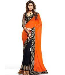 Beautifull orange and black half and half designer saree with heavy embroidered work