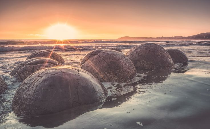 Primordal Incubation - Gorgeous morning at the Moeraki boulders, east coast New Zealand. This place reminds me of that movie cocoon. No old people hatched from these this particular morning.
