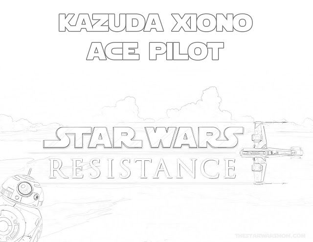 Ace Pilot Kazuda Xiono Star Wars Resistance Coloring Page Star Wars Star Wars Party War