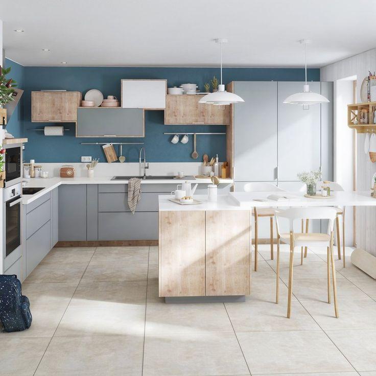 Kitchen White Beige Natural Blue Delinia Id Cuisine Grise Et Bois Cuisine Gris Tiroir Cuisine