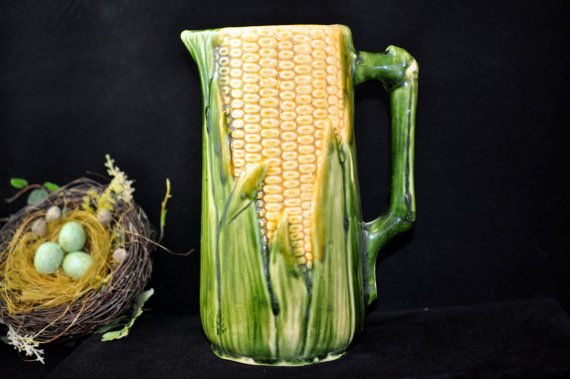 Majolica Pitcher, Over 100 pc for Sale, Please Look, Antique Corn majolica, vintage majolica pottery, Corn pitcher, prices start at 18.00