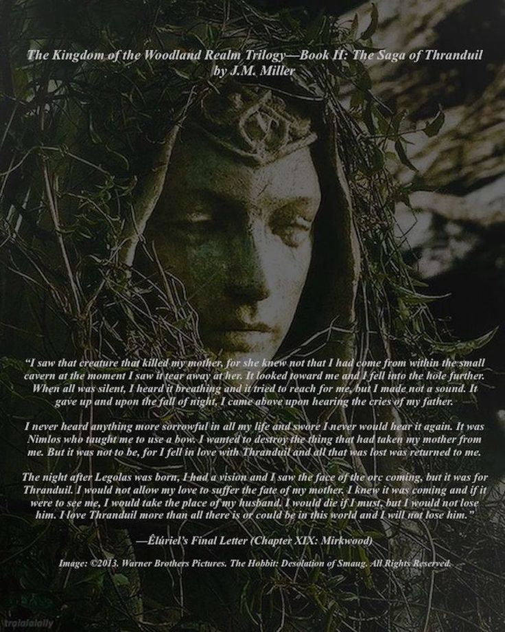 Before Êlúriel died, she gave a message to Nimeithel, Thranduil's mother. It was later that his head of council, Fëaluin. It was a message of love from a wife to her husband. #Thranduil. #TolkienFanFiction. #TrueLove. #Mirkwood. #WoodlandRealm.