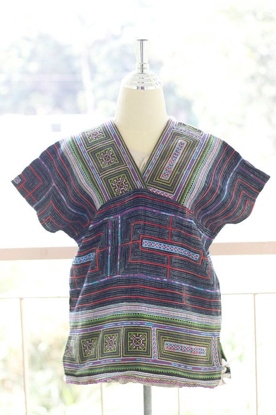 Karen blouse vintage style by hand-woven cotton by vinhomeshop