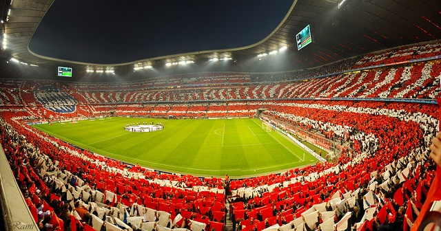 Bayern Munich fans inside the Allianz Arena.
