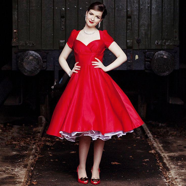 Dollydagger Vivien Red Satin 1950s Style Bridesmaids Dress