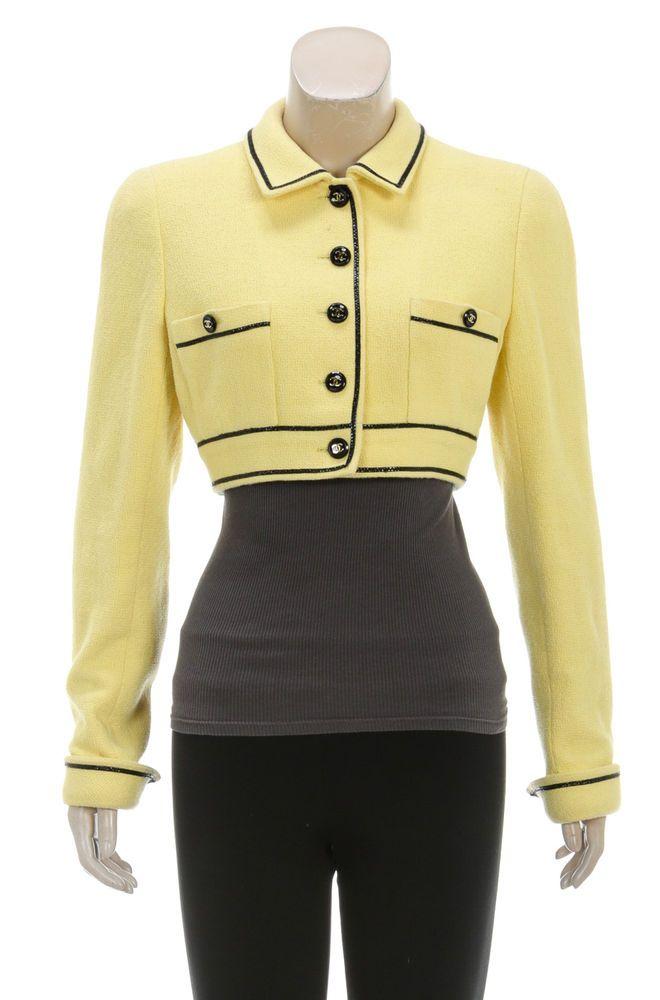 Chanel Yellow Knit Black Trim CC Button Crop Jacket 95P (Size 40)    eBay