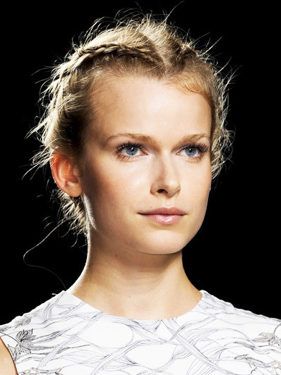 2 Braids front Wrapped in to Jewelry encrusted Updo Hair StyleTrend for Spring Summer 2013. Honor Spring Summer 2013. #hair #braid #trends