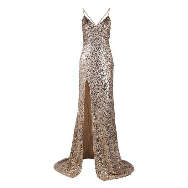 City Of Light Gold Sequin Spaghetti Strap Deep V Neck Thigh Slit Low... ❤ liked on Polyvore featuring dresses, gowns, slit dress, sequin evening gowns, sequin ball gown, spaghetti strap dress and maxi dress