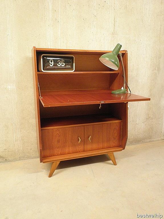 vintage bureaukast secretaire Deense stijl, vitnage teak desk