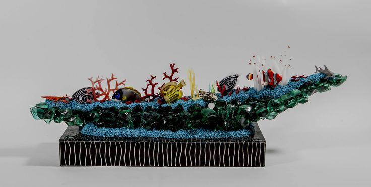 murano glass aquarium / acquario in vetro di murano / murano glass sculpture / scultura in vetro di Murano / handmade / murano glass / reef di Sanmarcoartedesign su Etsy