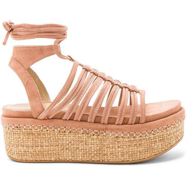 Stuart Weitzman Knotagain Sandal featuring polyvore, women's fashion, shoes, sandals, stuart weitzman shoes, rubber sole shoes, caged shoes, wrap shoes and platform sandals