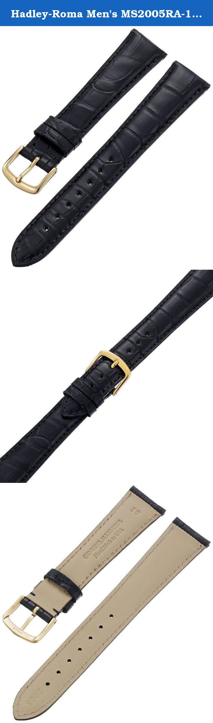 Hadley-Roma Men's MS2005RA-190 19-mm Black Genuine Alligator Leather Watch Strap. Genuine Louisiana Alligator Belly Cuts; semi-matte finish. Hypo-allergenic and water-resistant leather lining. Premium Square Grain Cuts, hypo-allergenic 316L gold plated stainless steel buckle. Band width: 19 mm (width of band at the case lugs). Handcrafted in the U.S.A.