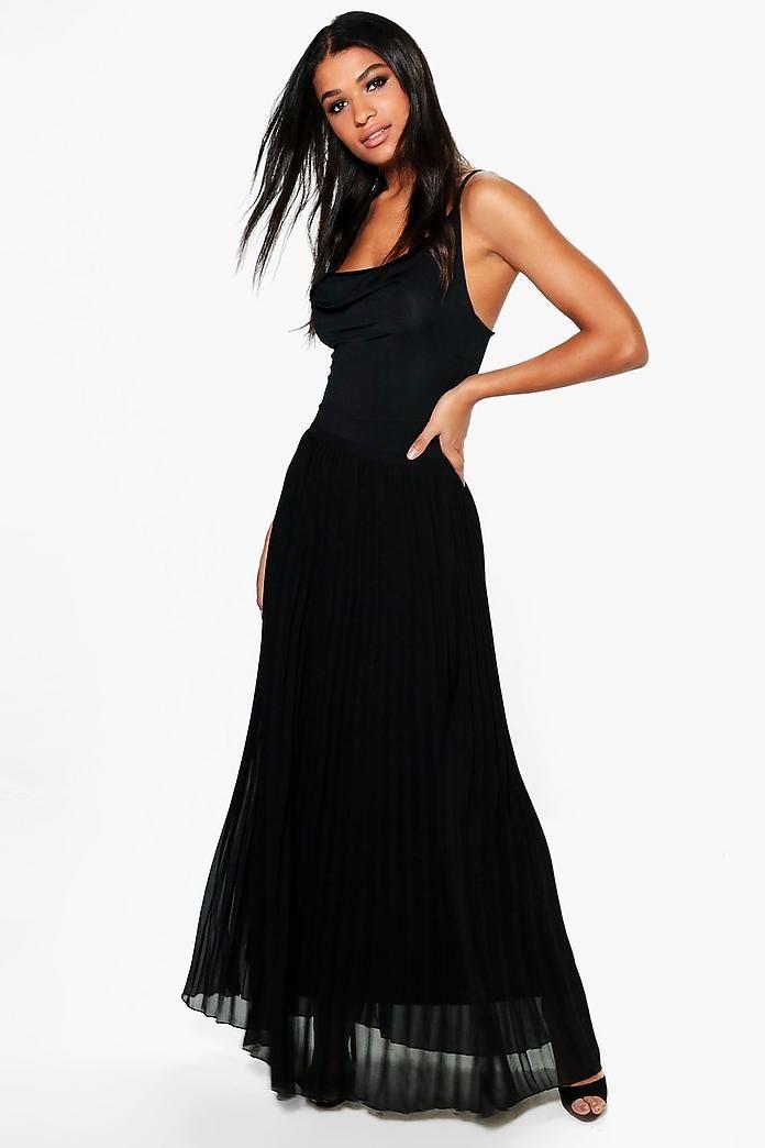 Mia Chiffon Pleated Maxi Skirt UK size 6 (EU34) Color: Black