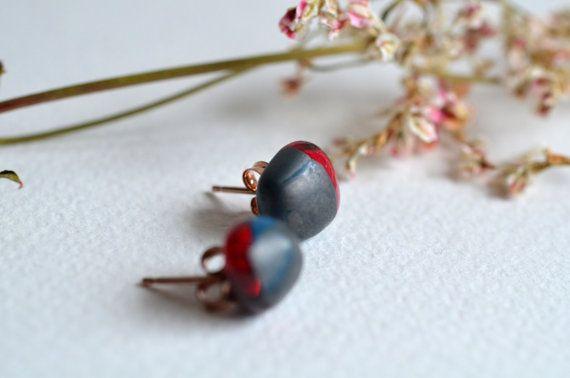 Orecchini in vetro colore blue egiziano rosa  e argento
