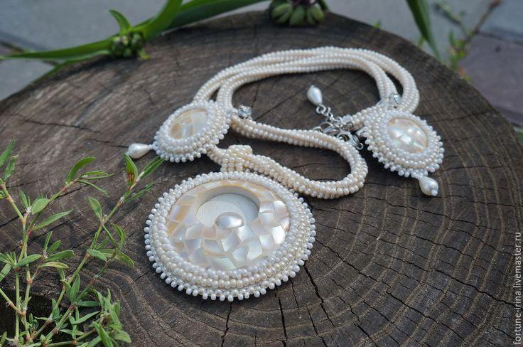 Купить Комплект украшений из перламутра Афродита - комплект украшений, украшения с перламутром, украшения ручной работы
