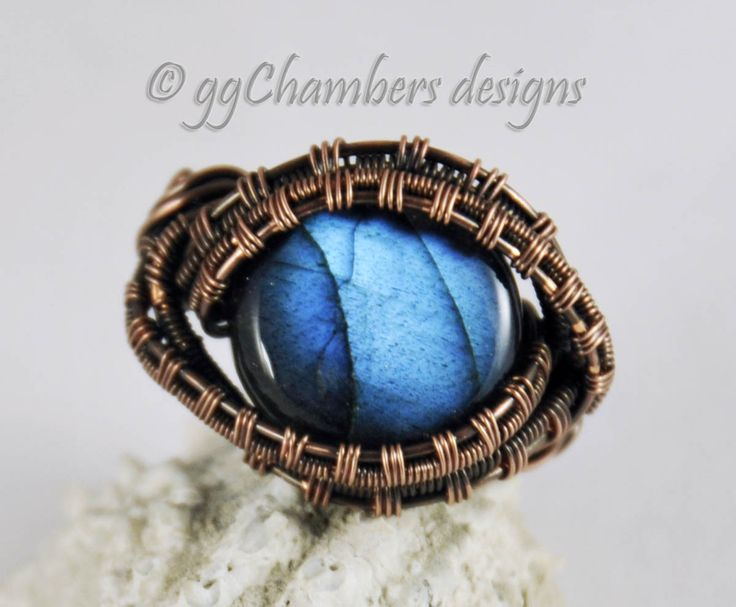 Antiqued Copper Woven Wire Ring with Blue Labradorite Cabochon -Size 9