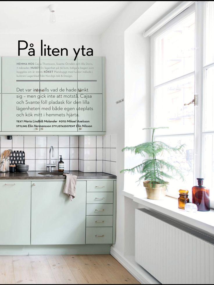 Pastellgrönt kök på liten yta hittat i Readly, Plaza Kök& Bad nr6 2104 Vackra kök