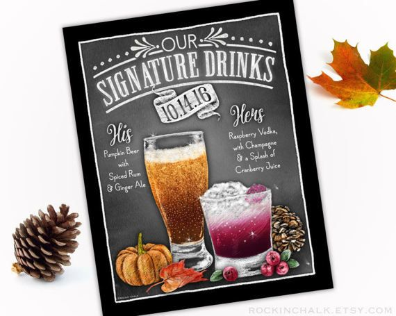 Fall Autumn Wedding Decoration  Signature Drink by RockinChalk