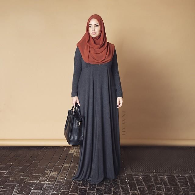 INAYAH | Charcoal Jersey Flare #Abaya + Rust Georgette #Hijab  www.inayahcollection.com
