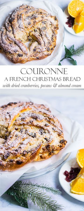 Couronne with Cranberries and Pecans: a holiday bread wreath perfect for breakfast! Recipe via MonPetitFour.com